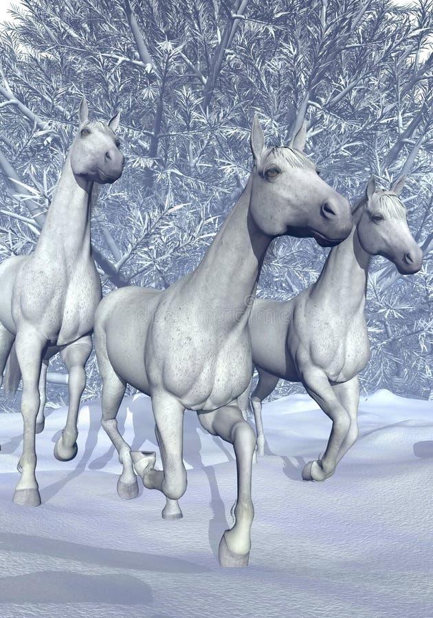 Лошадь в зиме - 3D представляют иллюстрация вектора
