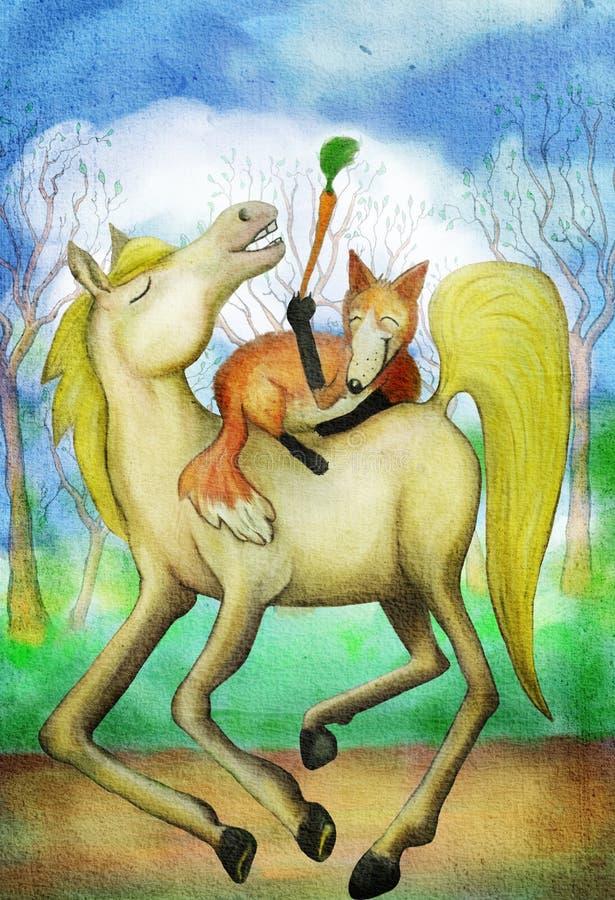 Лошадь и лиса с морковью иллюстрация вектора