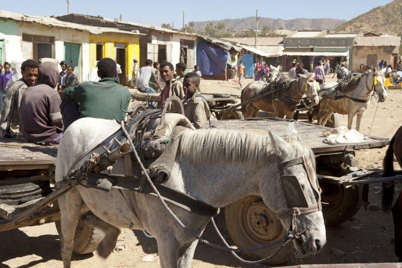 Лошадь и телега, Эфиопия стоковые изображения rf