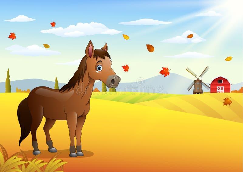 Лошадь шаржа коричневая в погоде осени иллюстрация вектора