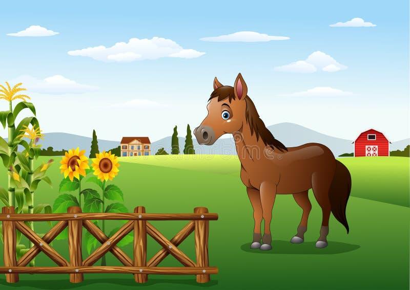 Лошадь шаржа коричневая в ферме бесплатная иллюстрация