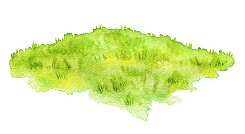 Луг акварели зеленый