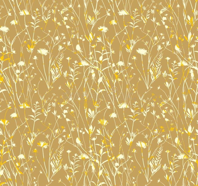 Луг безшовной картины золотой иллюстрация вектора