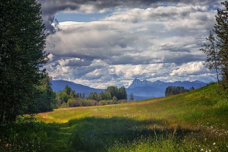 Луг, горы и тучные облака стоковое фото