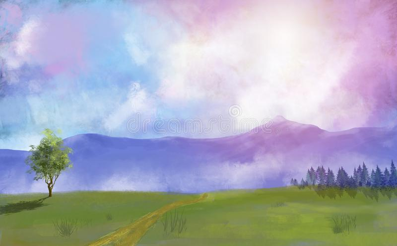 Луг, деревья и лес картины цифров с драматическим небом бесплатная иллюстрация
