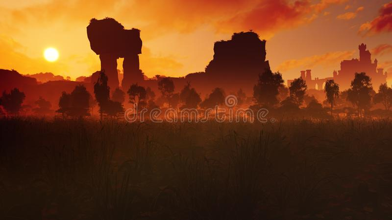 Луг захода солнца с старыми руинами и замком иллюстрация штока