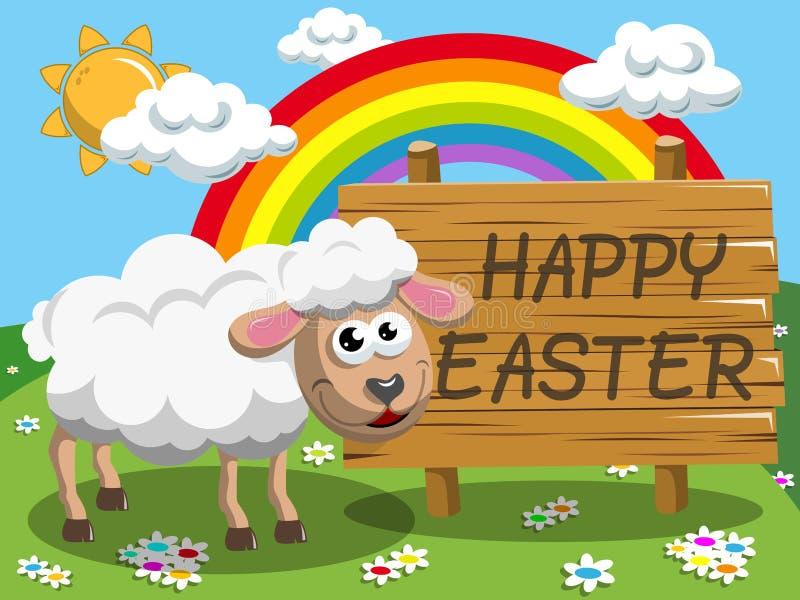 Луг знамени пасхи овец шаржа счастливый деревянный иллюстрация вектора