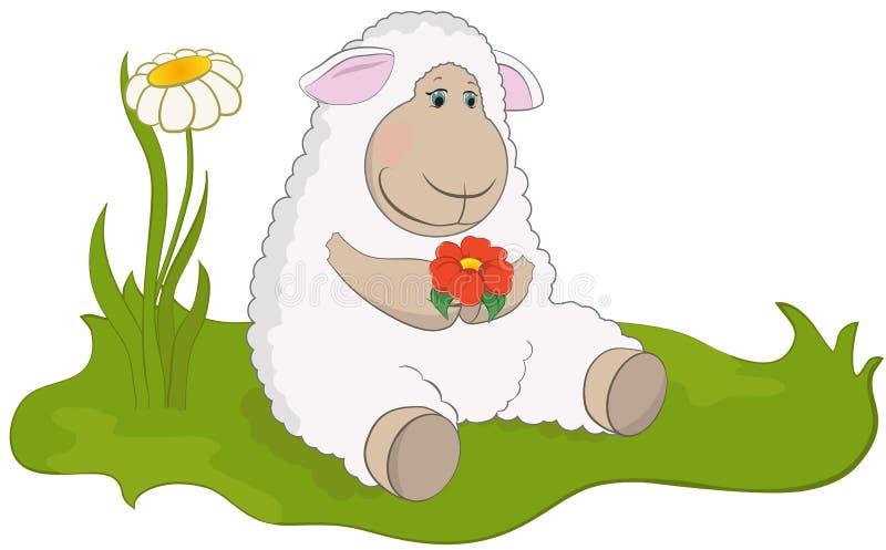 Луг овечки весной иллюстрация штока