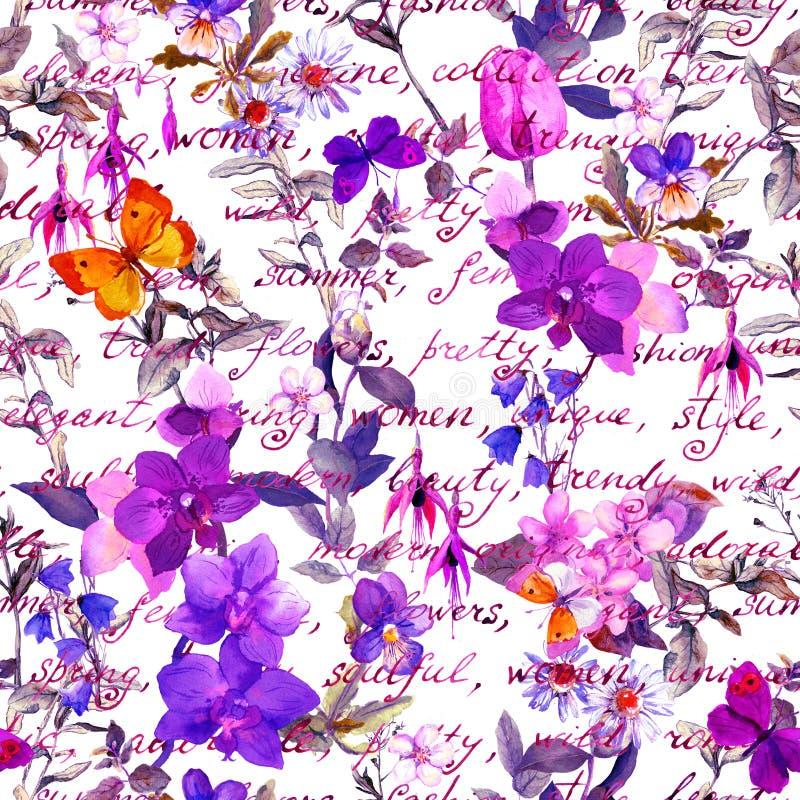 Луг цветет, бабочки с винтажными примечаниями письменного текста руки безшовное предпосылки флористическое Акварель в ультрафиоле иллюстрация штока