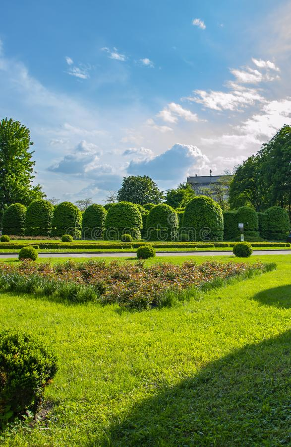 Лужайка и цветники общественного парка стоковые фотографии rf