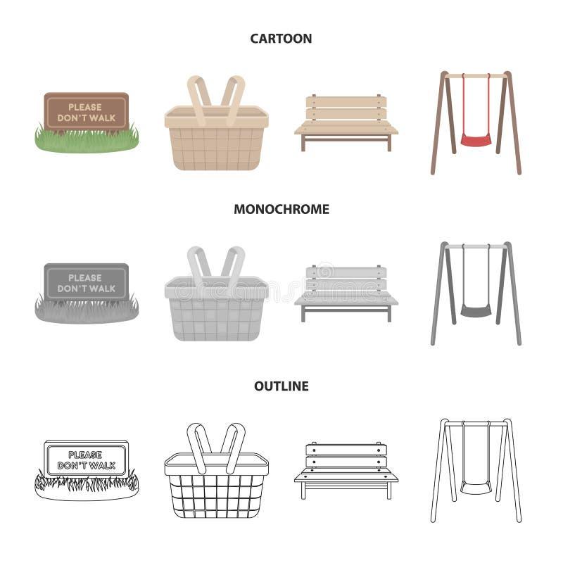 Лужайка с знаком, корзиной с едой, стендом, качанием Значки собрания парка установленные в шарже, плане, monochrome стиле иллюстрация вектора