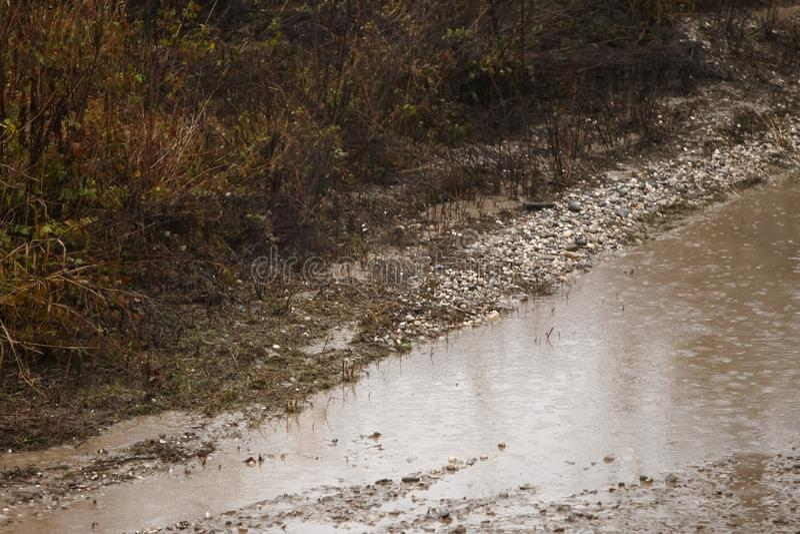 Лужица на грязной дороге стоковое фото rf