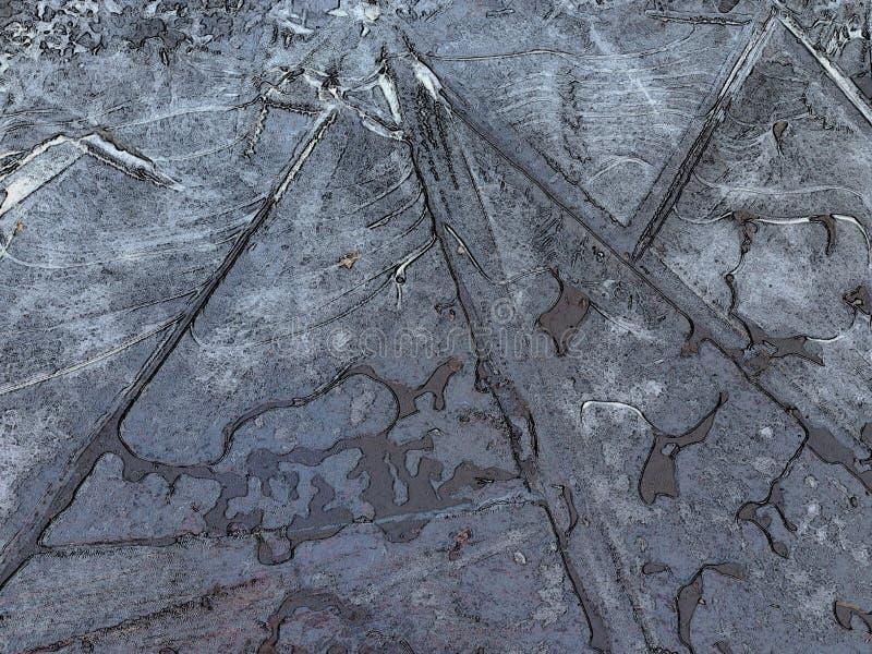 Лужица треснутого льда формируя линии и геометрические картины стоковые фото