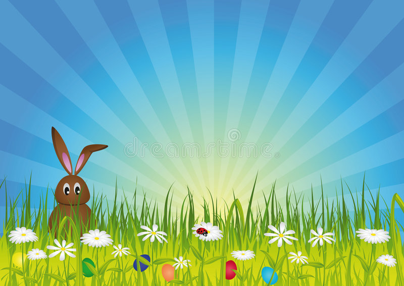 лужок пасхи зайчика зеленый стоковое фото