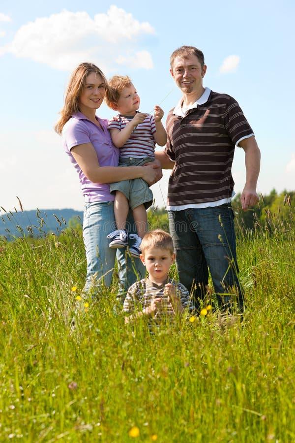 лужок семьи играя лето стоковые фото