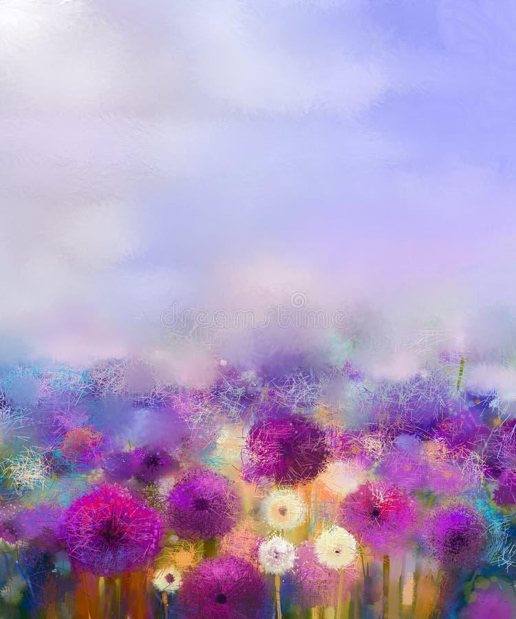 Лук картины маслом фиолетовый с белым одуванчиком цветет в луге бесплатная иллюстрация