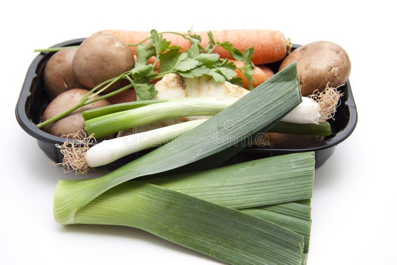 Лук-порей с грибами и морковами стоковое фото rf