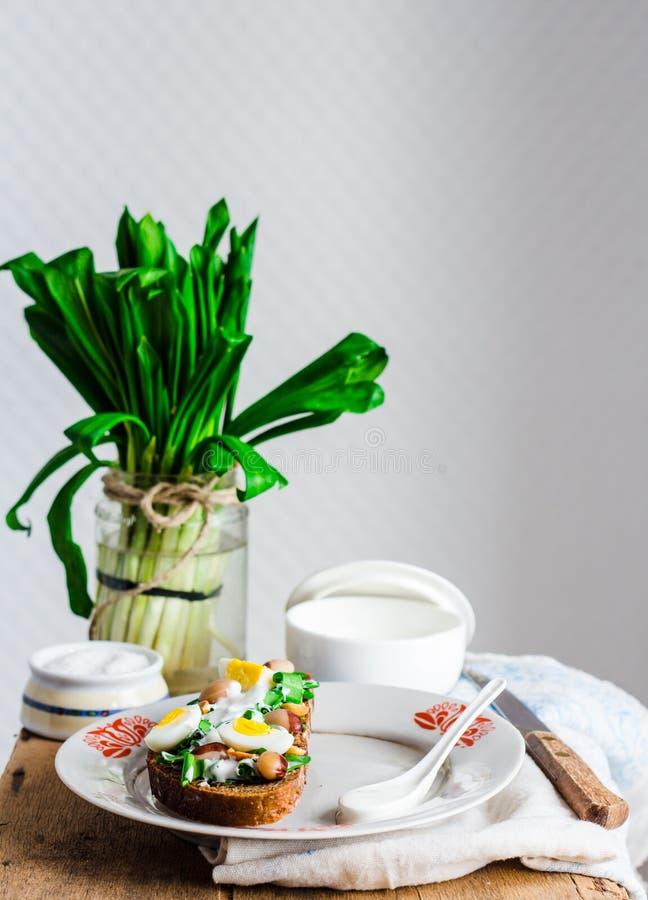 Лук-порей с яичками и сметаной триперсток на хлебе рож, закуске стоковые фото