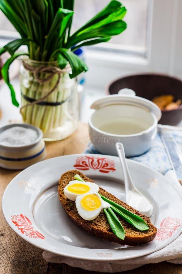 Лук-порей с яичками и сметаной триперсток на хлебе рож, закуске стоковое фото rf