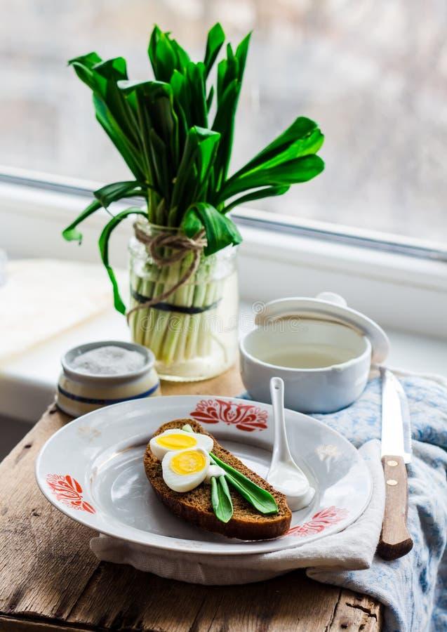 Лук-порей с яичками и сметаной триперсток на хлебе рож, закуске стоковые изображения rf