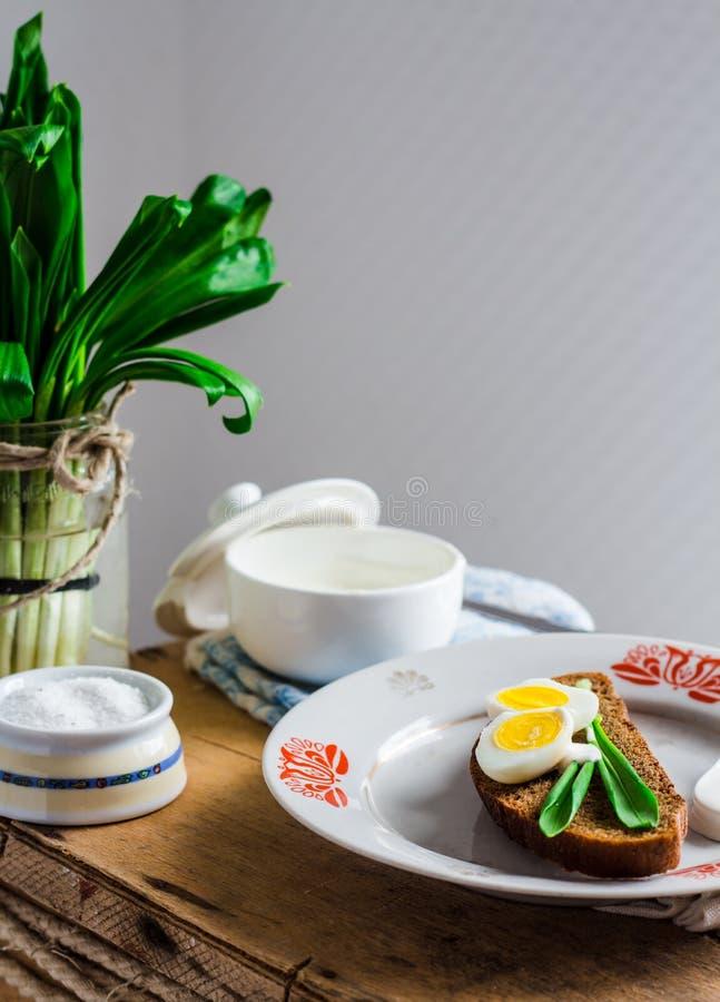 Лук-порей с яичками и сметаной триперсток на хлебе рож, закуске стоковые изображения