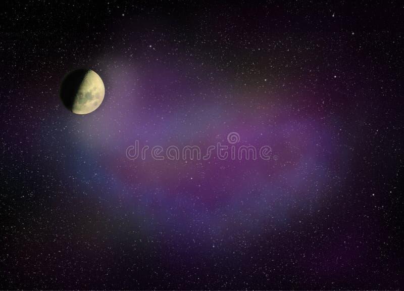 Лунатируйте светить в космосе вполне звезд и ультрафиолетов межзвёздного облака стоковое фото