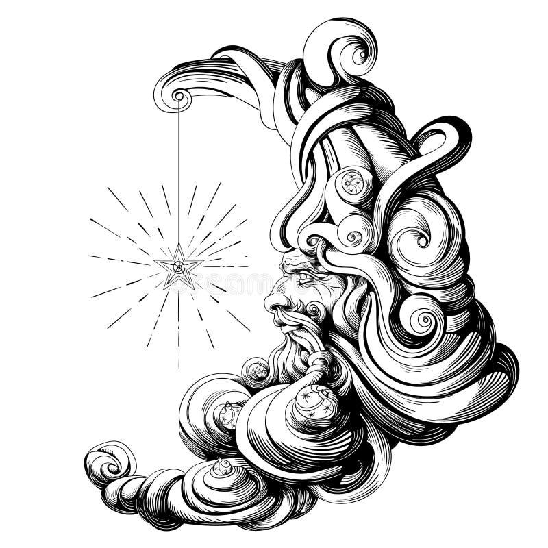 Луна… в пасмурной ноче иллюстрация вектора