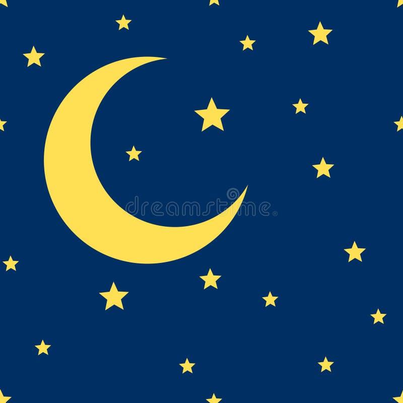 Луна вектора серповидная и картина звезд безшовная иллюстрация штока