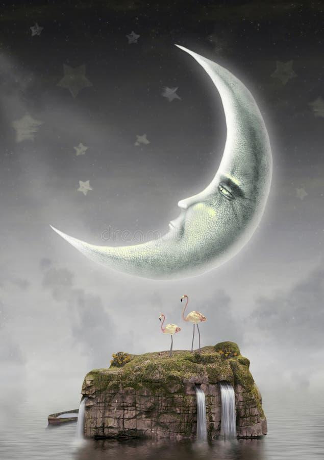 Луна в небе иллюстрация штока