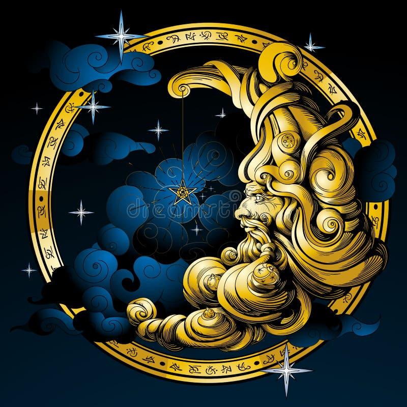 Луна в форме старика иллюстрация штока