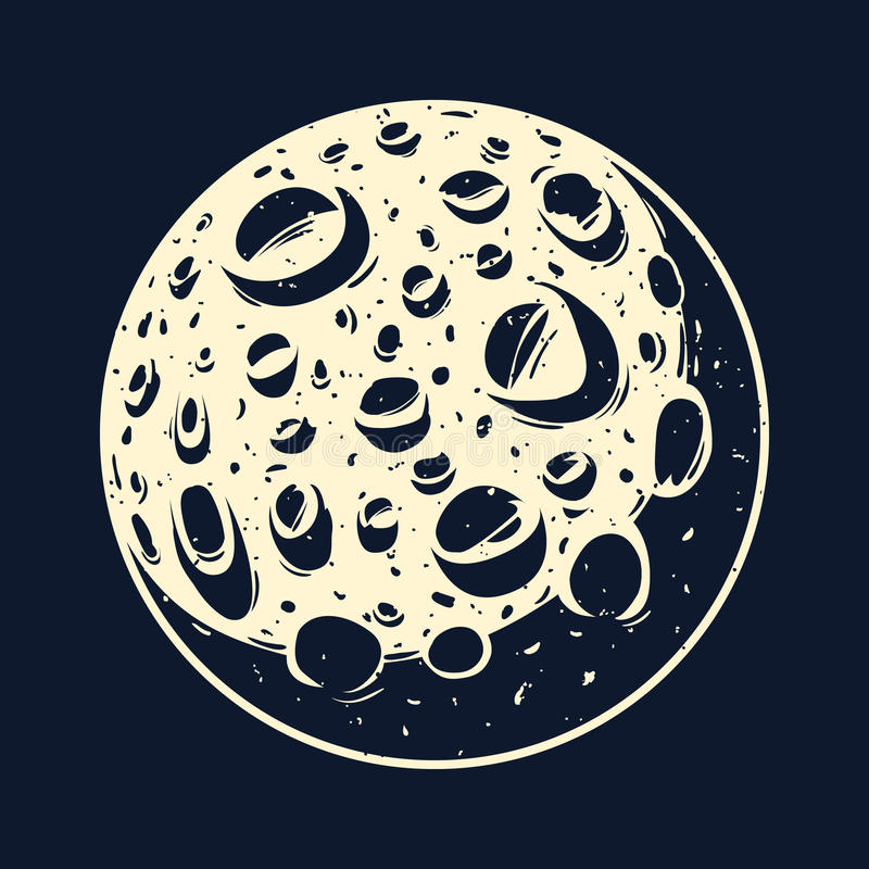 Луна в черном небе бесплатная иллюстрация