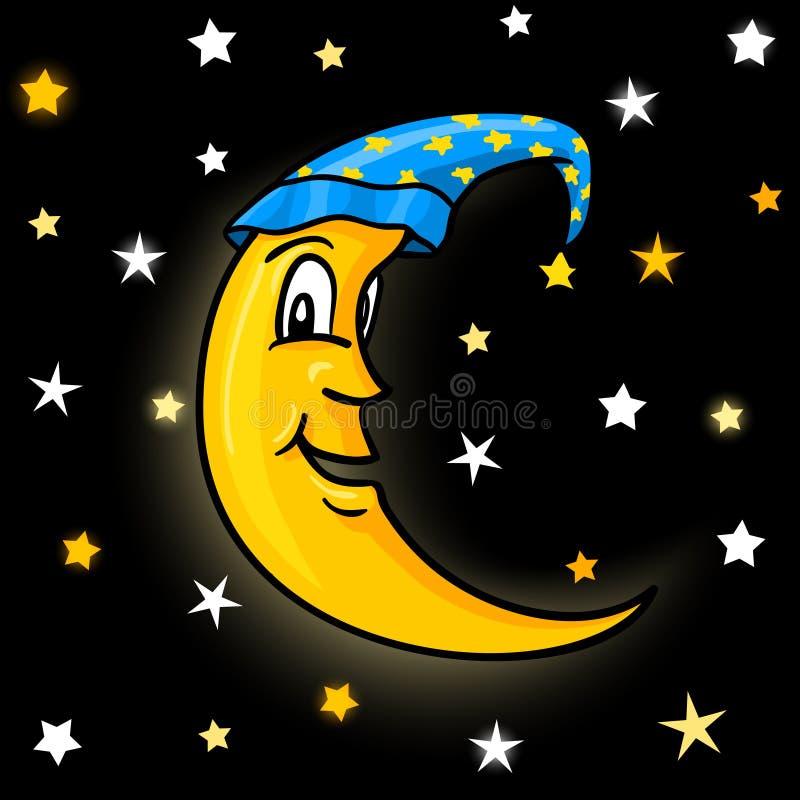 Луна в nightcap с звездами иллюстрация вектора