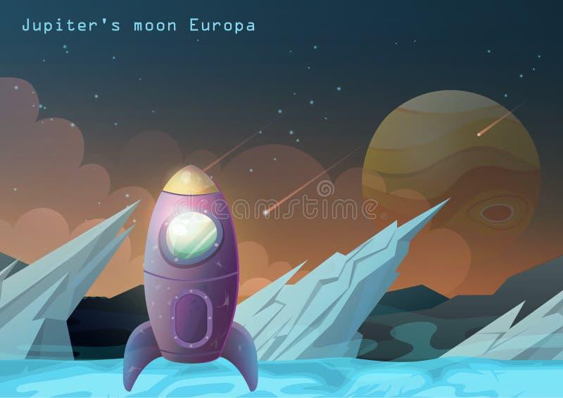 Луна Европы, спутник Юпитера с космическим кораблем иллюстрация штока
