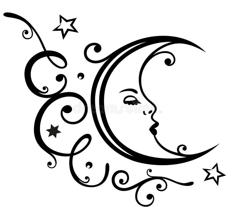 Луна, звезды, небо иллюстрация штока