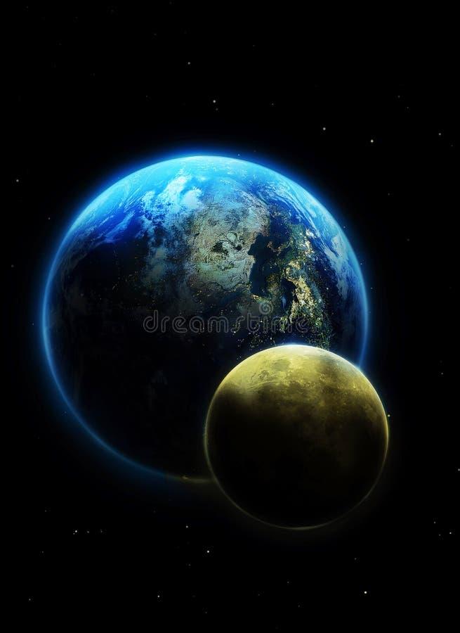 луна земли иллюстрация штока
