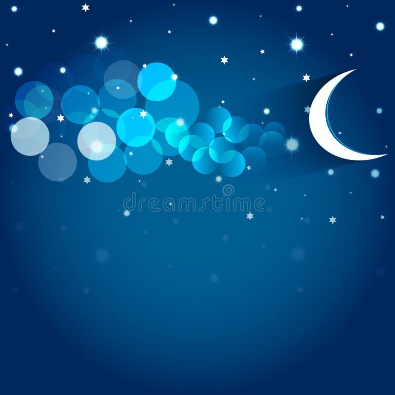 Луна и звезды в ночном небе. иллюстрация вектора