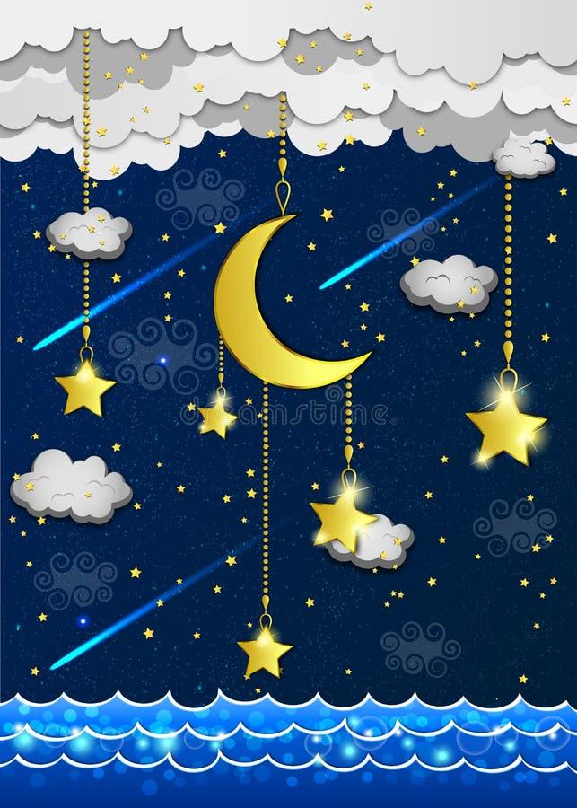 Луна и звезды в облаках иллюстрация вектора
