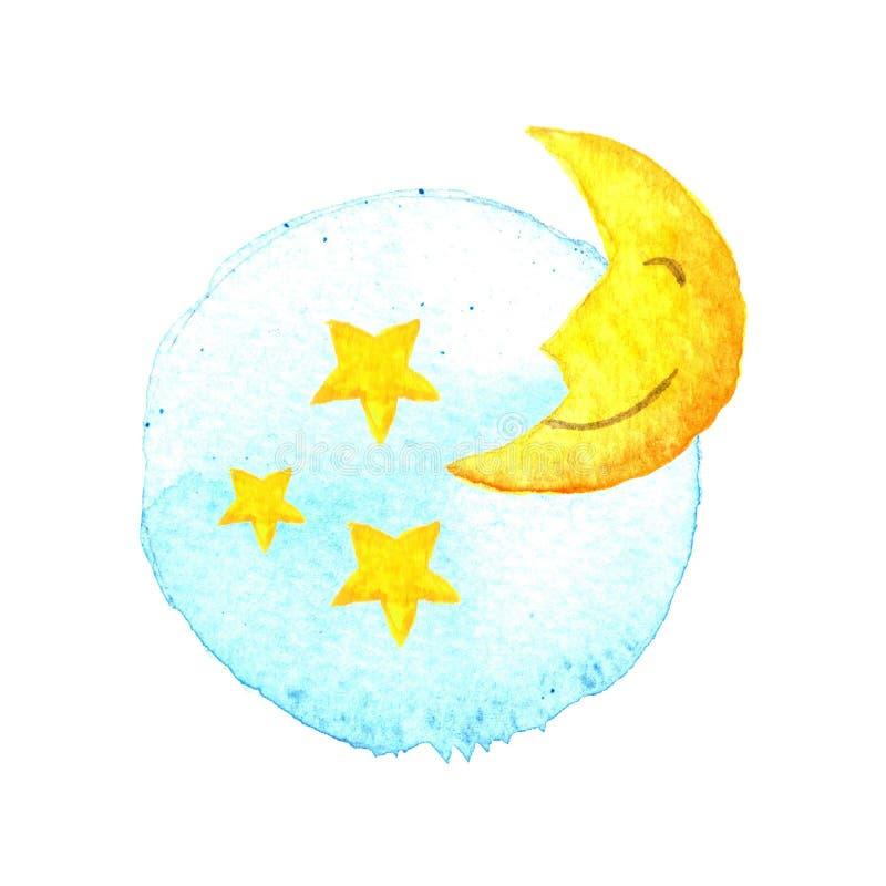 Луна и звезды на покрашенной акварели икона Сон мечтает символ Ноча или знак времени кровати Иллюстрация i руки желтого цвета син иллюстрация вектора