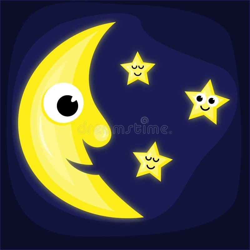 Луна и звезды шаржа иллюстрация штока
