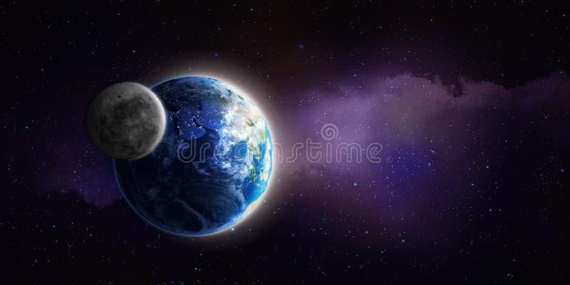 Луна и земля иллюстрация вектора