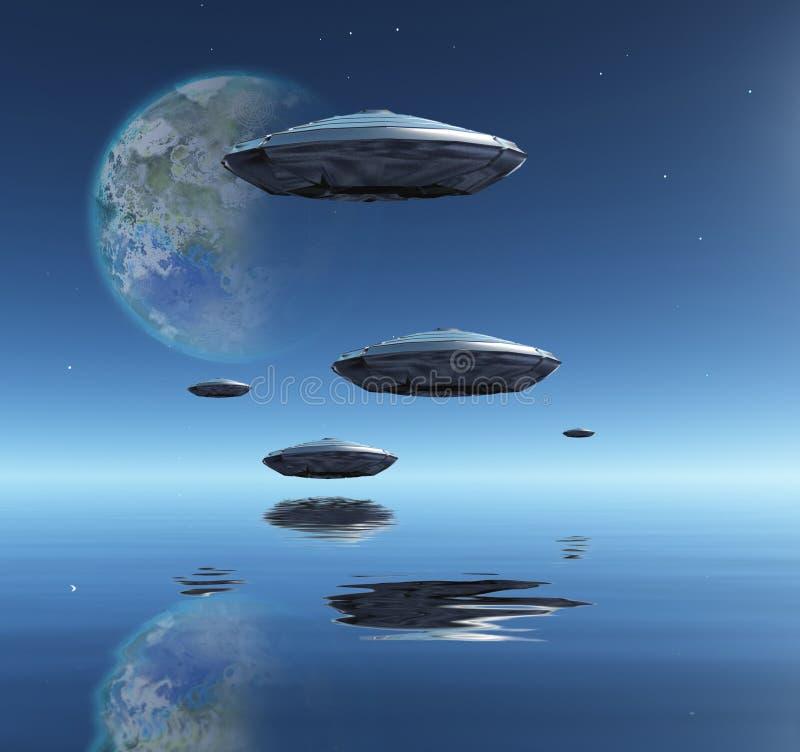 Луна и корабли Terraformed иллюстрация вектора