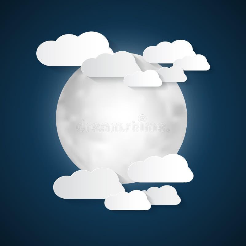 Луна и облака иллюстрация вектора
