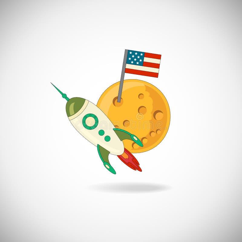 Луна и ракета бесплатная иллюстрация