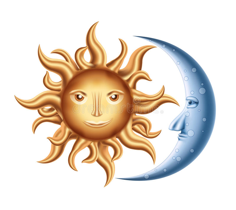 Луна и Солнце иллюстрация штока