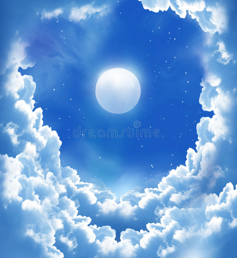 луна красивейших облаков сказовая стоковая фотография rf