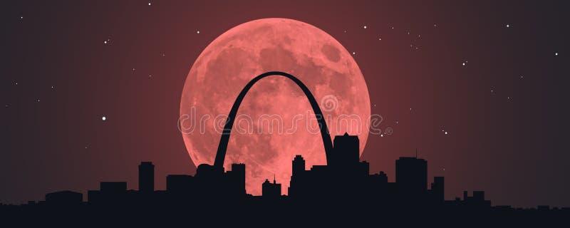 Луна крови красная над STL иллюстрация штока
