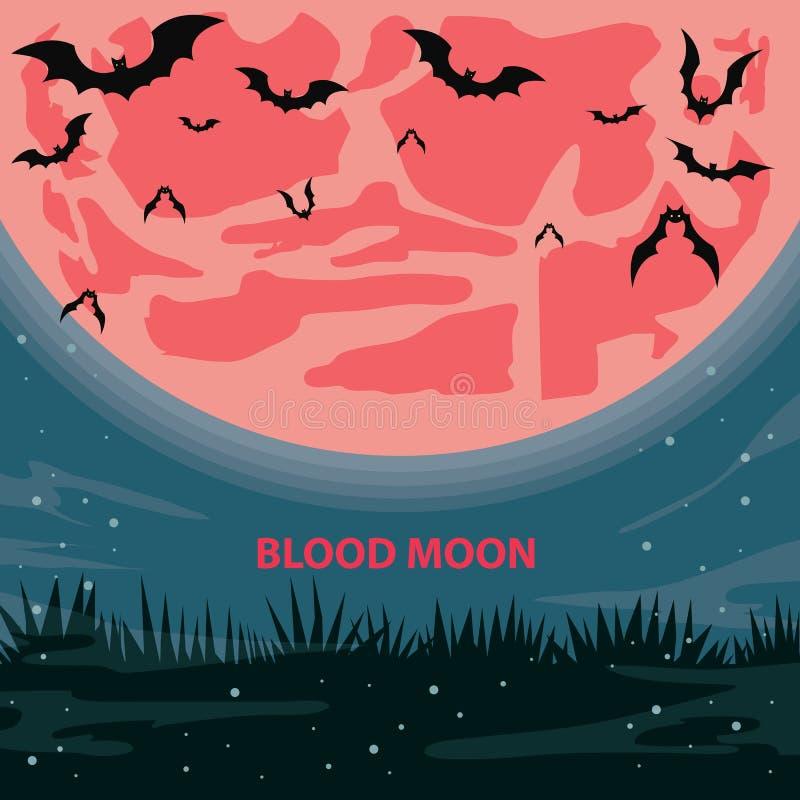 Луна крови иллюстрация вектора