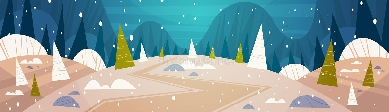 Луна ландшафта леса зимы светя над концепцией деревьев Snowy, с Рождеством Христовым и счастливых Нового Года знамени праздников иллюстрация вектора