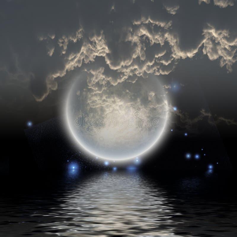 Луна над водой иллюстрация штока