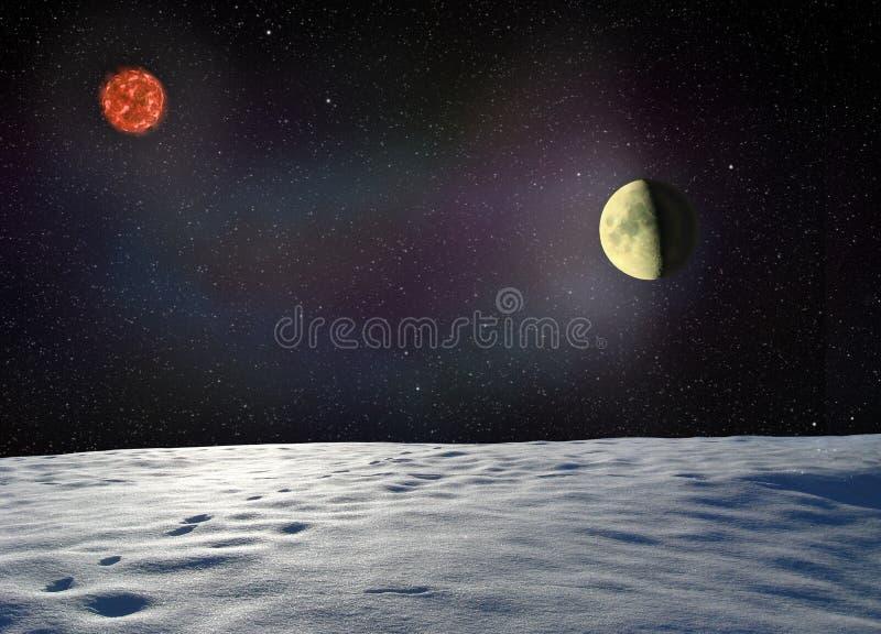 Луна накаляет поверхность неизвестной планеты стоковые изображения rf